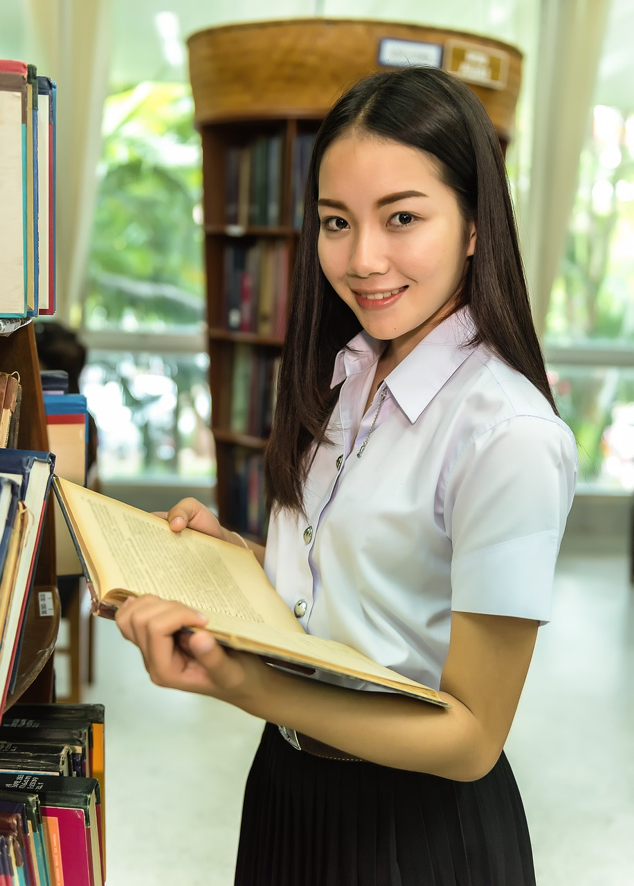 woman, library, students